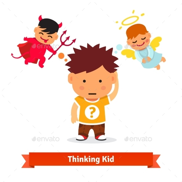 Thinking Kid Making Choice Between Good and Evil - People Characters