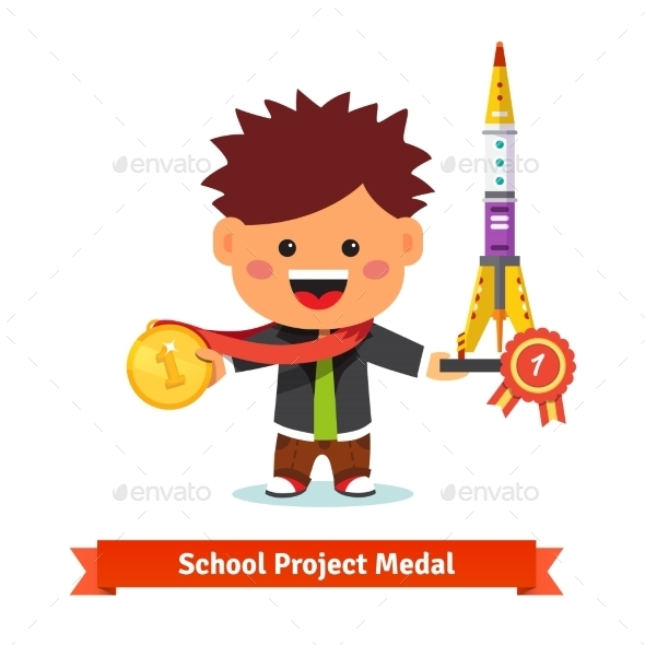 Happy Kid Takes First Prize at School Science Fair - People Characters