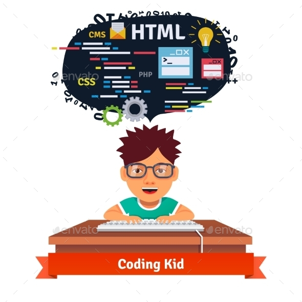 Kid is Learning Web Design and Coding - Computers Technology