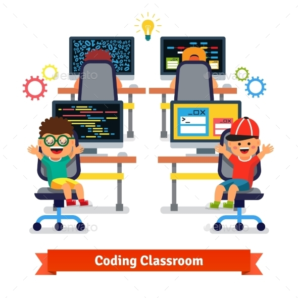 Kids Learning to Code and Program - Computers Technology
