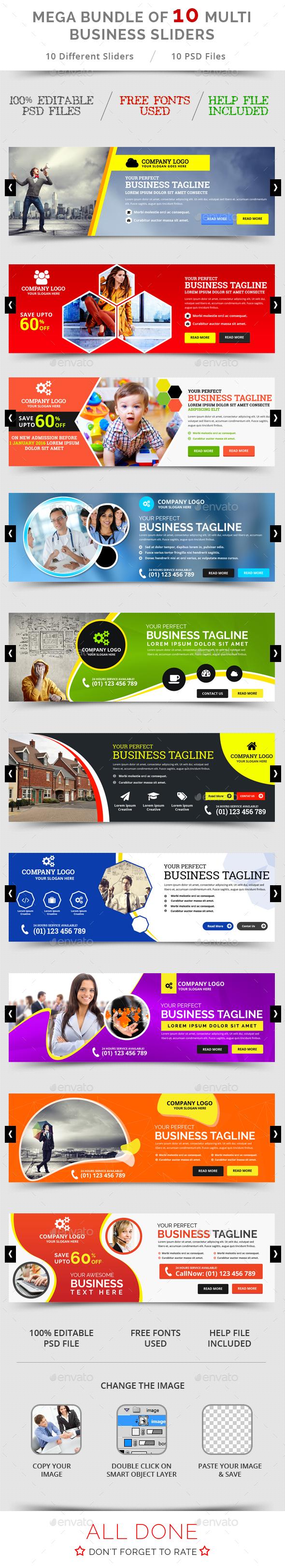 Multi Business Sliders Bundle - Sliders & Features Web Elements