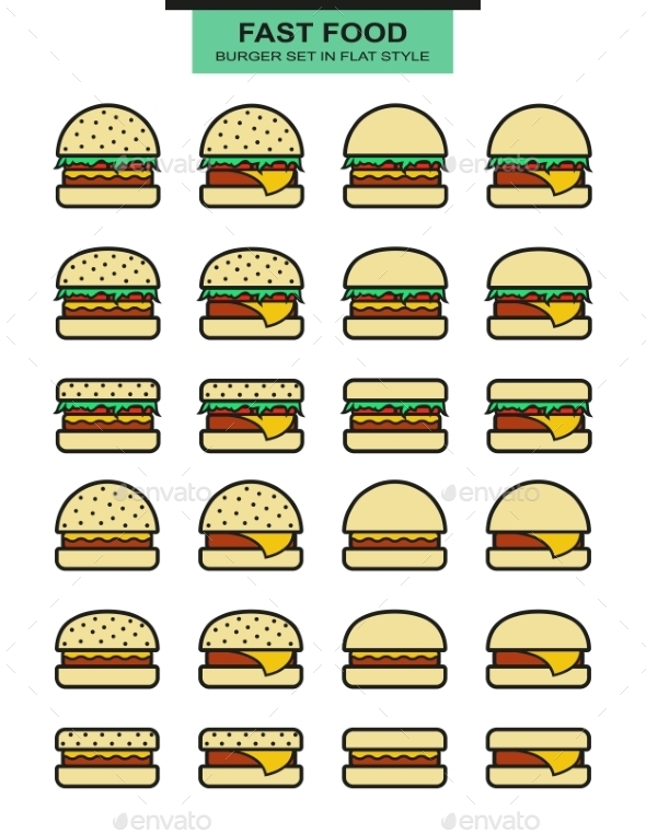 Set of Different Shape Burgers - Food Objects