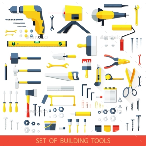 Set of Building Tools - Man-made Objects Objects