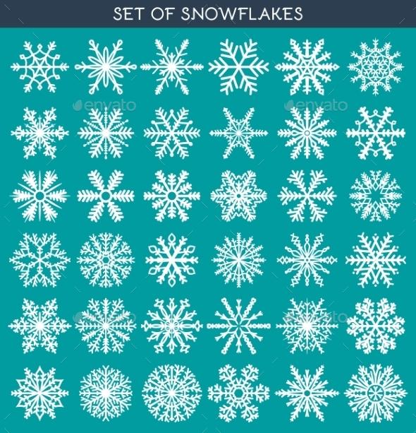 Set 36 White Different Snowflakes - Christmas Seasons/Holidays