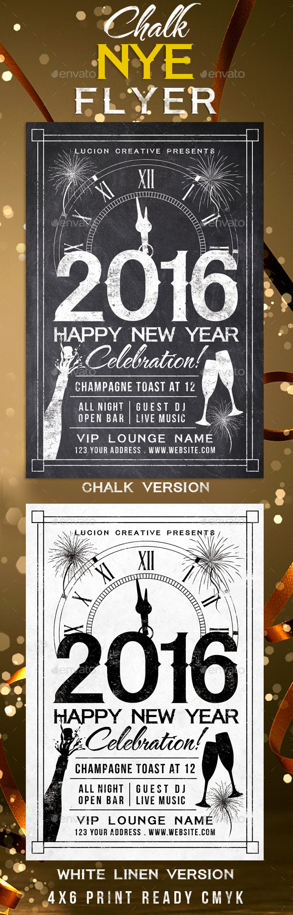 Chalk New Years Eve Party Flyer - Holidays Events