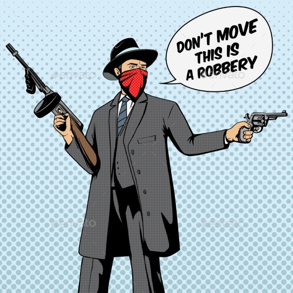 Gangster with Gun Robbery Pop Art Vector - Backgrounds Decorative
