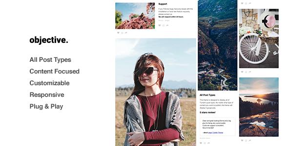 Objective – Responsive Grid Portfolio, Tumblr Theme