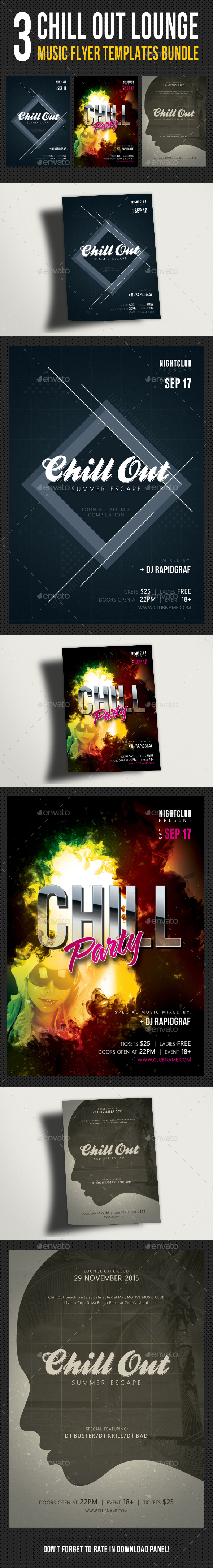 3 in 1 Chill Out Flyer Templates Bundle - Clubs & Parties Events