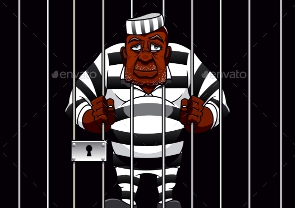 Cartoon Prisoner Behind Bars in the Prison - People Characters