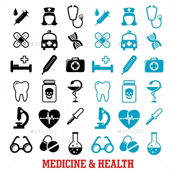 Black and Blue Flat Medical Icons Set - Health/Medicine Conceptual