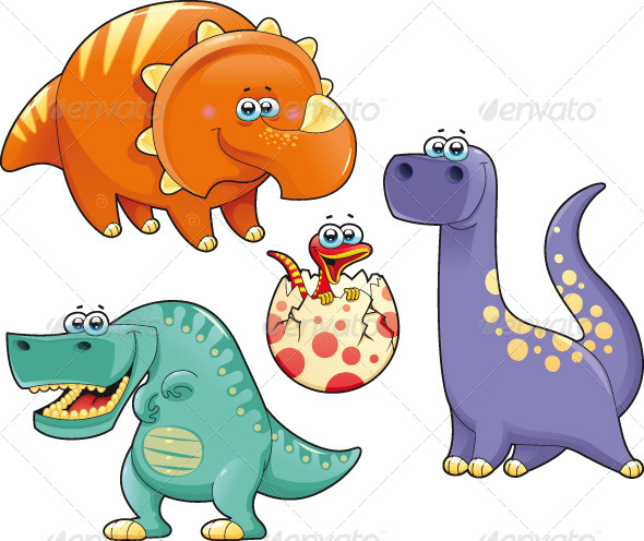 Group of funny dinosaurs. - Characters Vectors