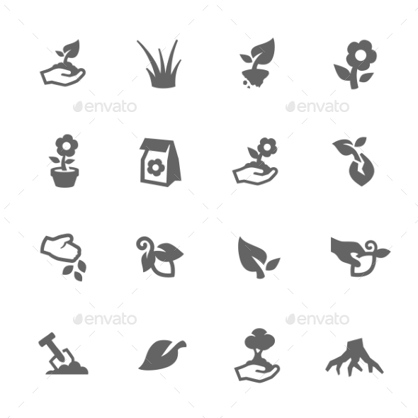 Simple Growing Plants Icons - Icons
