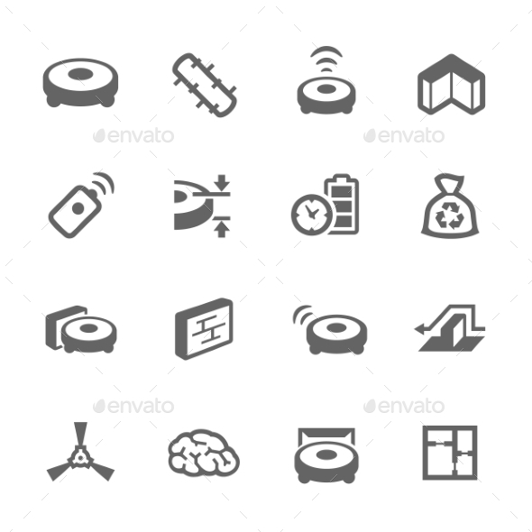 Simple Robot Cleaner Icons - Icons