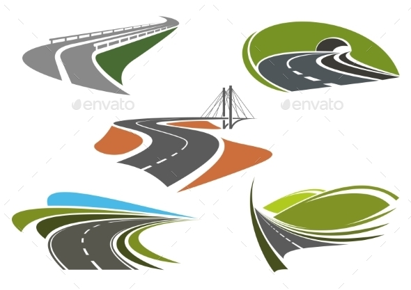 Asphalt Highway And Roads Abstract Icons - Travel Conceptual