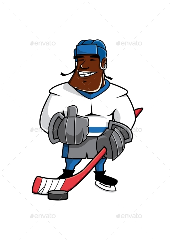 Cartoon Ice Hockey Player With Thumb Up - Sports/Activity Conceptual