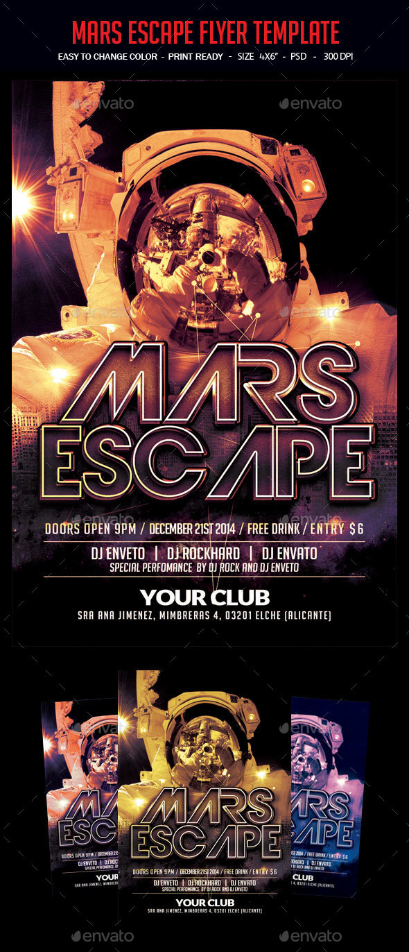 Mars Escape Flyer Template - Clubs & Parties Events