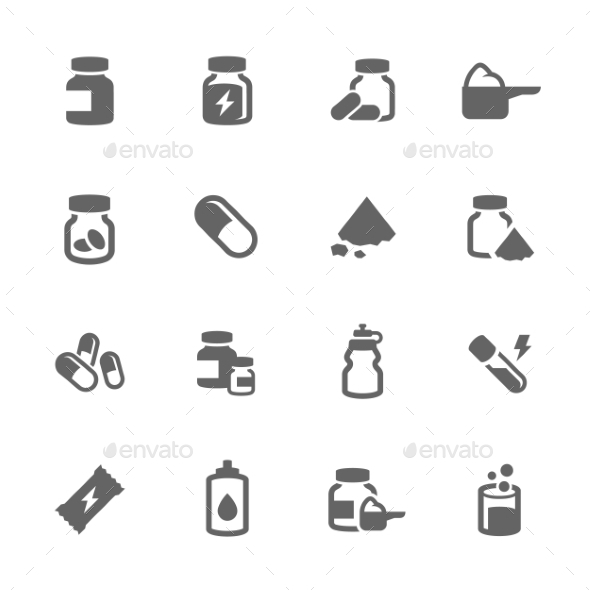 Simple Sport Supplements Icons - Icons