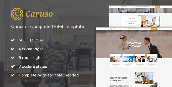Caruso – Complete Hotel Booking Template