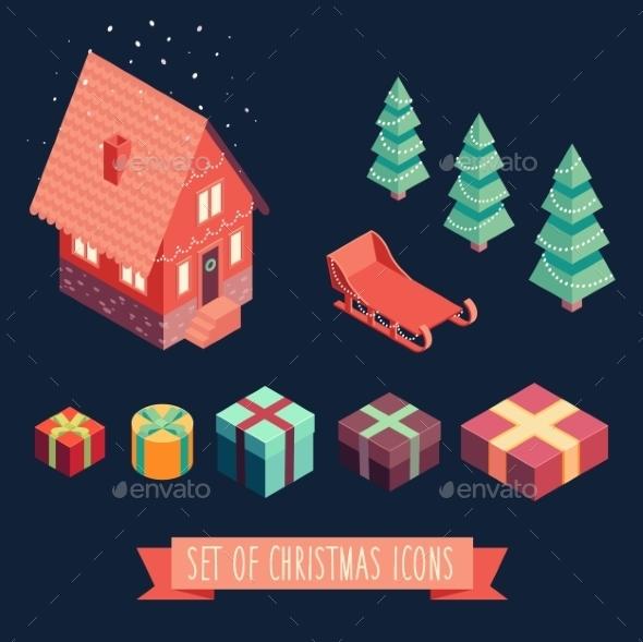 Isometric Christmas Merry Christmas New Year - Christmas Seasons/Holidays