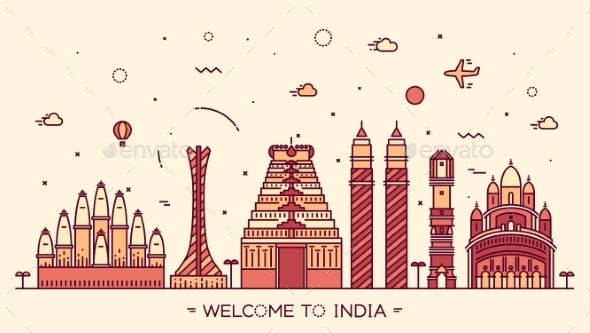 Skyline India Silhouette Illustration Linear - Buildings Objects