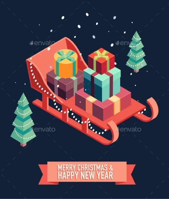 Isometric Sleigh Gifts Merry Christmas New Year - Christmas Seasons/Holidays