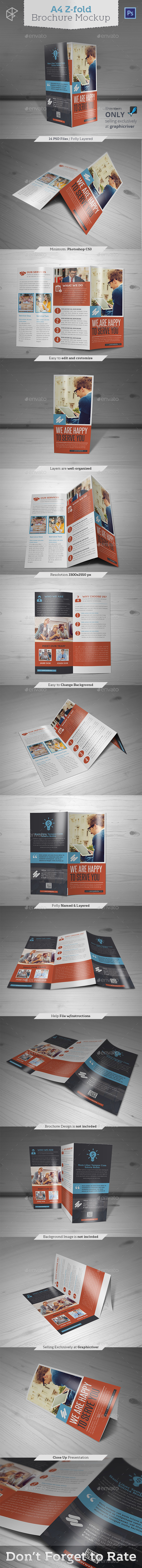 A4 Z-fold Brochure Mockup - Brochures Print