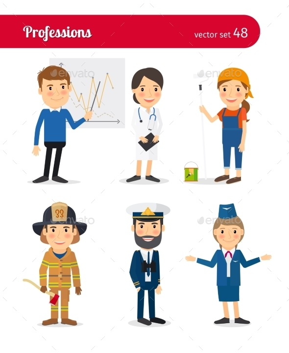 Businessman, MD, Female Worker And Firefighter - People Characters