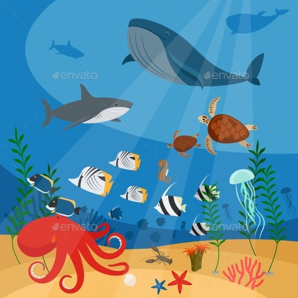 Underwater Vector Background - Animals Characters