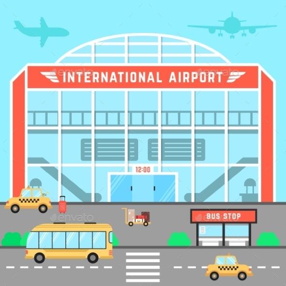 Facade Airport With Bus Stop - Travel Conceptual