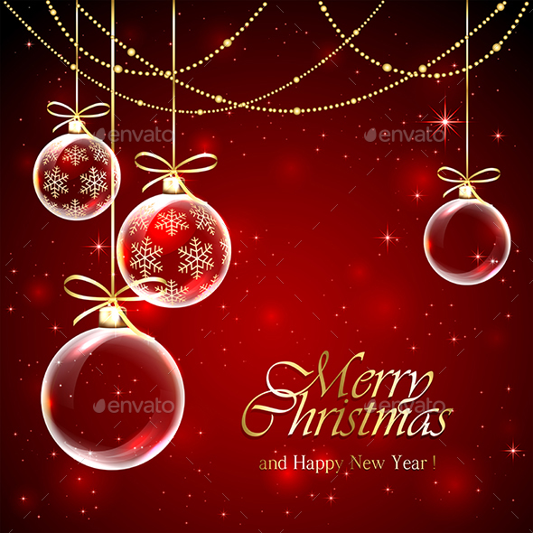 Christmas Baubles on Red Background - Christmas Seasons/Holidays