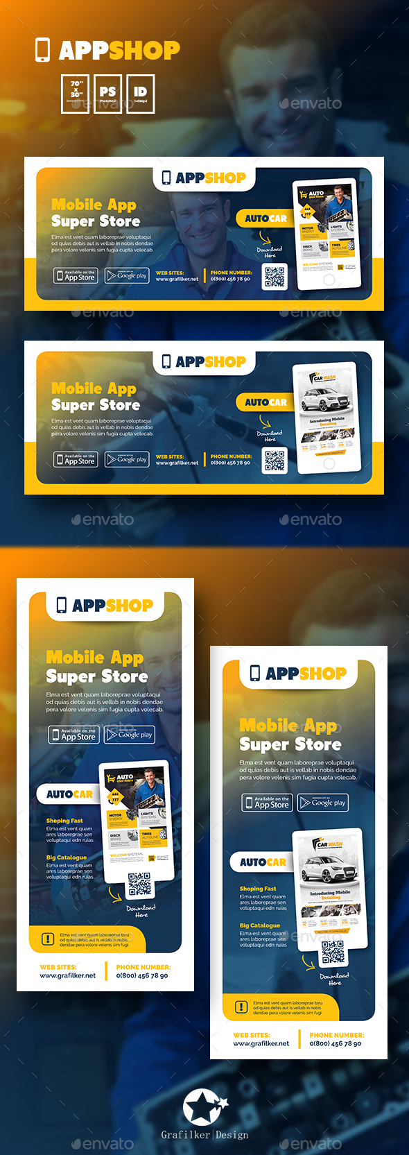 Mobile App Billboard & Roll-Up Templates - Signage Print Templates