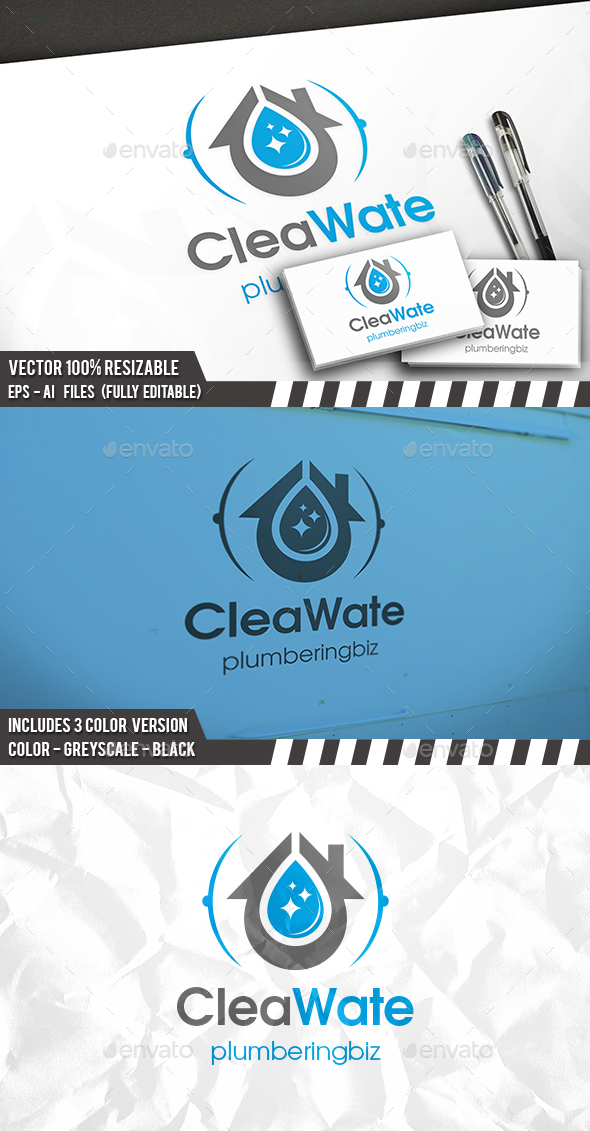 Plumber Clean Water Logo - Buildings Logo Templates