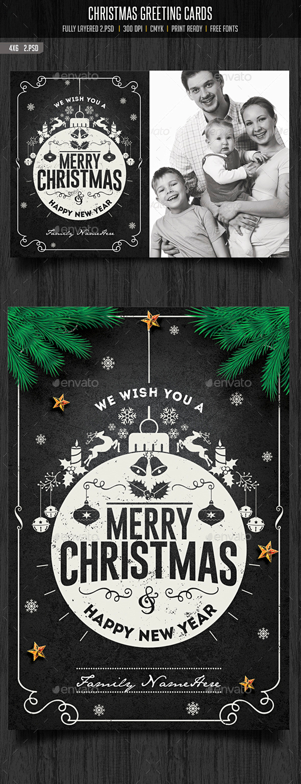 Christmas Greeting Cards - Cards & Invites Print Templates
