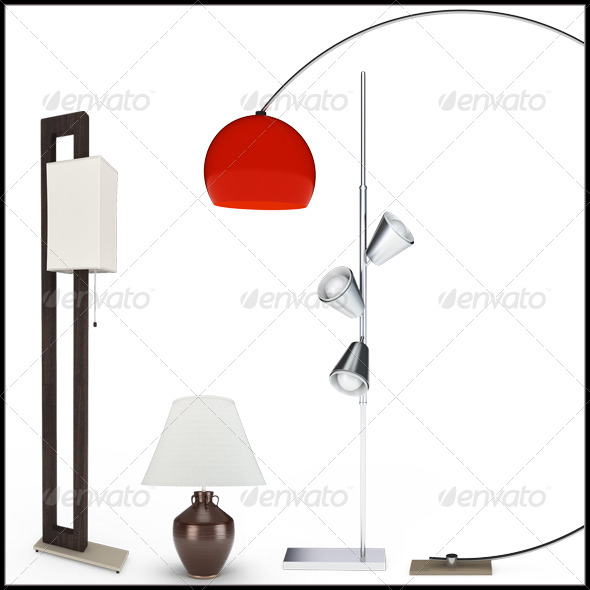Set of Lamps. 3D Illustration - Objects 3D Renders