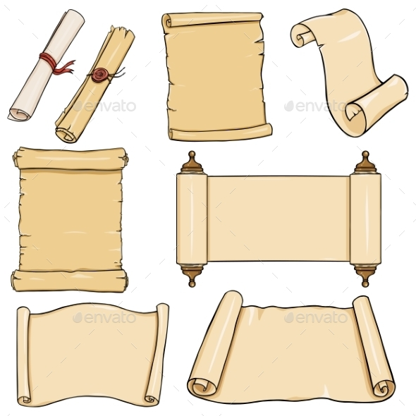 Vectror Set Of  Cartoon Scrolls - Miscellaneous Vectors
