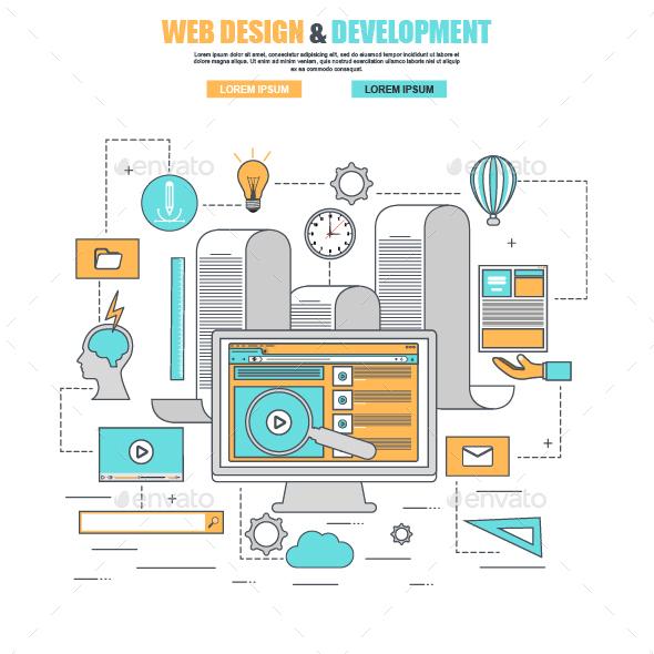 Thin Line Flat Design Web Development - Concepts Business