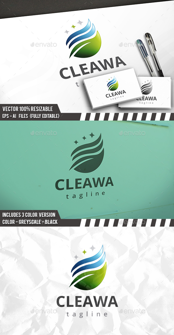 Clean Eco Water Logo - Nature Logo Templates