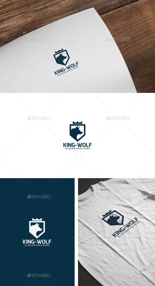 King Wolf Logo - Animals Logo Templates