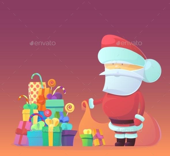 Vector Illustration Of Santa Claus Carrying Sack - Christmas Seasons/Holidays