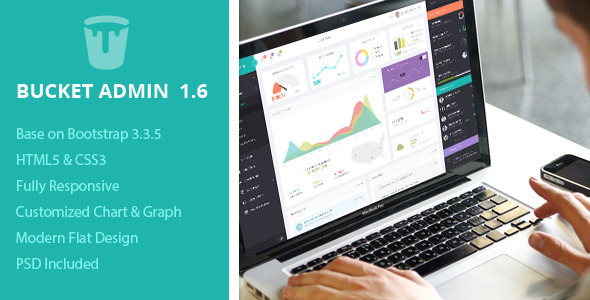 Bucket Admin Bootstrap 3 Responsive Flat Dashboard - Admin Templates Site Templates
