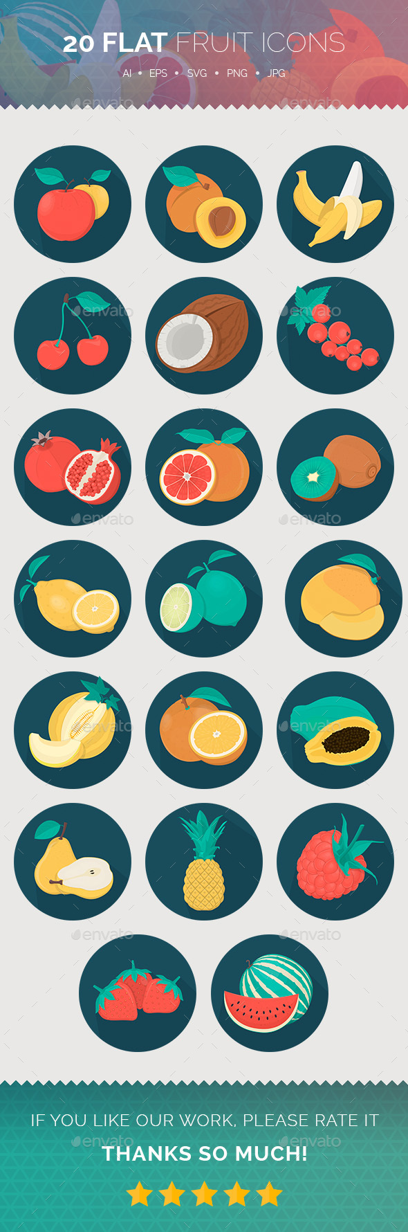 Flat Fruit Icons  - Food Objects