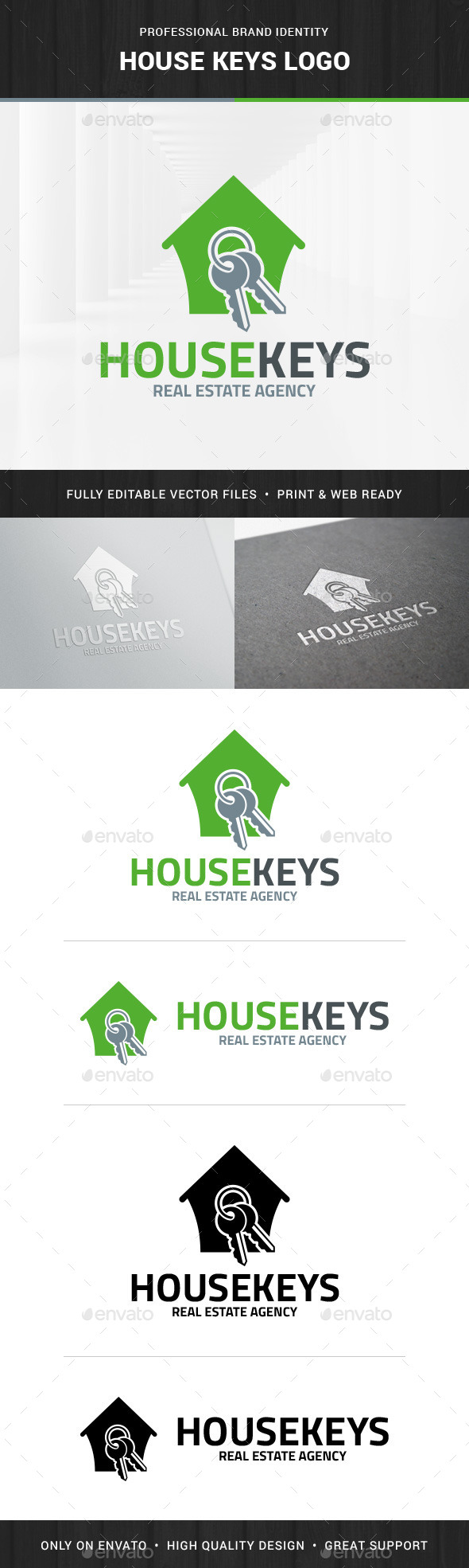 House Keys Logo Template - Buildings Logo Templates