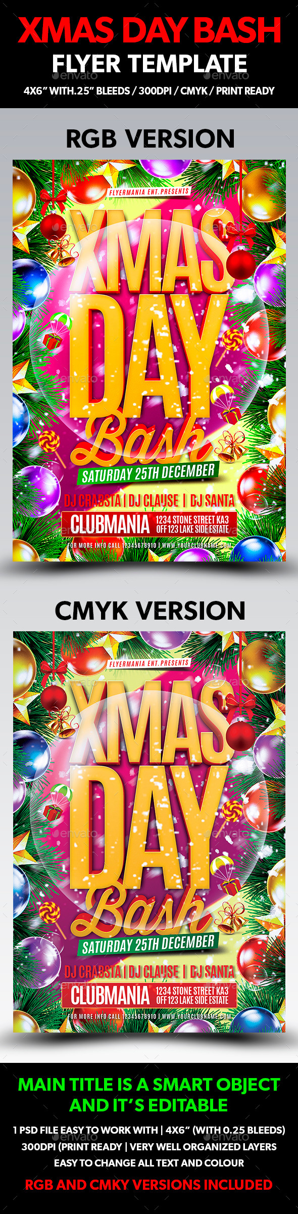 Xmas Day Bash Flyer Template - Flyers Print Templates