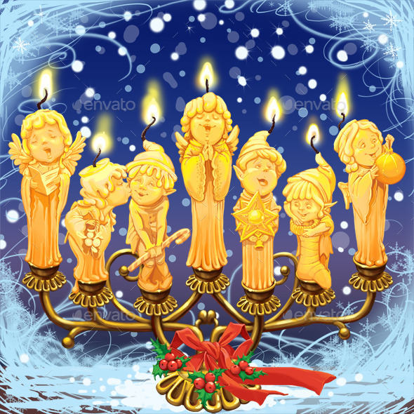 Seven magical Christmas candle - Decorative Graphics