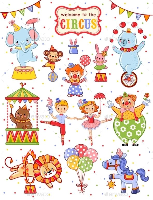 Cute Vector Collection Of Circus. - Backgrounds Decorative