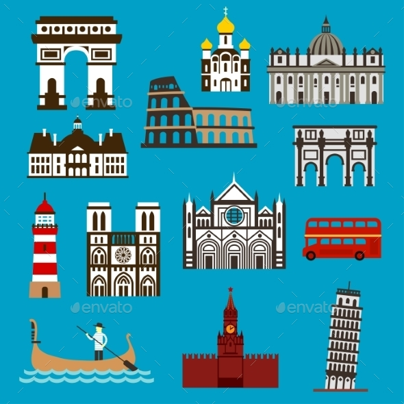 European Landmarks And Buuildings Flat Icons - Buildings Objects