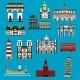 European Landmarks And Buuildings Flat Icons