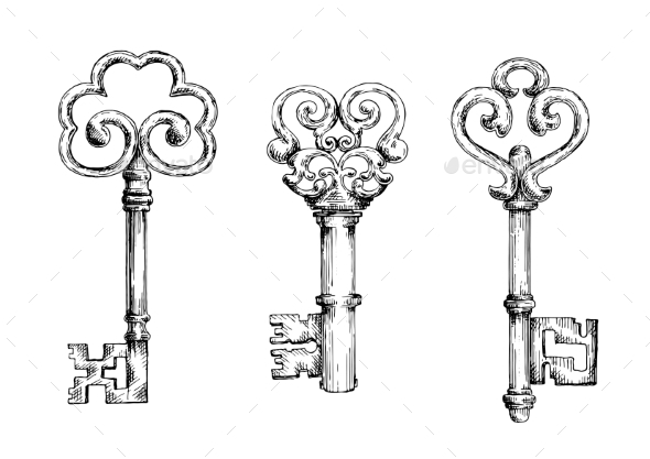 Sketch Of Vintage Keys With Curly Elements - Objects Vectors