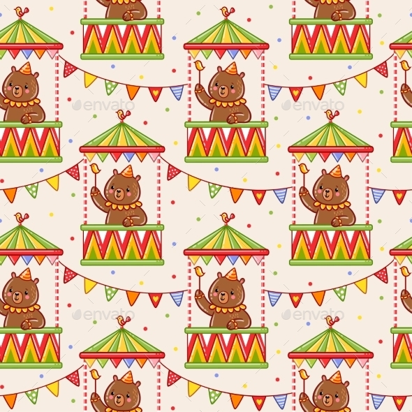 Seamless Circus Background With Bears. - Birthdays Seasons/Holidays