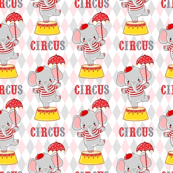 Circus Elephant On a Pedestal. - Animals Characters